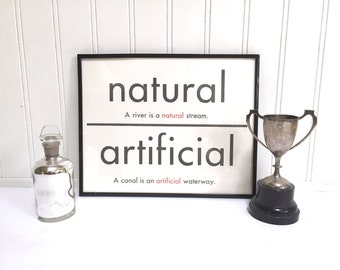 VINTAGE FLASH CARD - Natural Artificial - Antonym - Art Print - Room Decor - 11 x 14 - Black White - Industrial - Sign