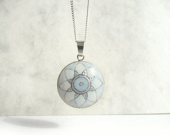 Unique Necklace, Hand Painted Pendant, 925 Sterling Silver Charm, Miniature Painting Jewelry, Light Blau Necklace, Handmade by Artdora