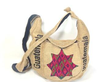 Burlap Ethnic Bag - Jute Tribal Bucket Bag - Burlap Hippie Satchel - Large Slouchy Bag - Guatemala - Crossbody Festival Bag