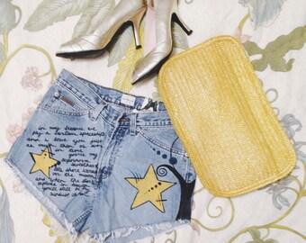 Summer Spaceship Love Shorts. hand painted Denim