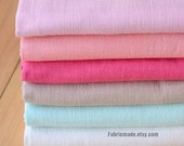 Pastel Linen Cotton Fabric For Summer Clothing Dress in Pink Mint Green Khaki Bamboo Joint Texture -1/2 yard