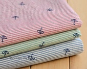 Stripes Linen Fabric, Red Blue Green Stripes Linen Cotton Fabric With Cute Umbrella - 1/2 yard