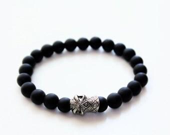 Black Matte Onyx Skull Beaded Bracelet