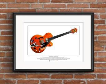 Brian Setzer's 6120 guitar Signed Limited Edition Fine Art Print A3 size
