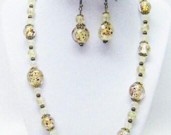 Gold Speckle Glass w/Acrylic Glitter Bead Necklace/Bracelet/Earrings Se