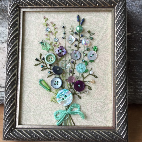 Antique button art for Button crafts for adults