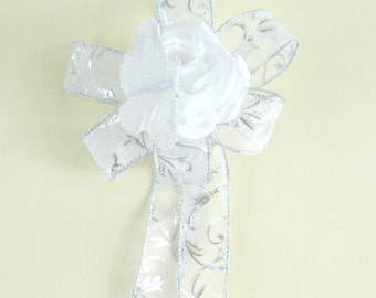 White and silver wedding gift bow, Wedding decoration, Bridal shower bow, Gifts for a bride, Bridal shower decoration, Gift wrap bow (W106)