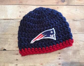 Patriots Newborn Hat Beanie new England Crochet Cap with Patch Photo Prop