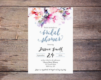 Watercolor Floral Bridal Shower Invitation Floral Wedding Shower Invite Modern Watercolor Flowers Wedding DiY Printable- Jessica