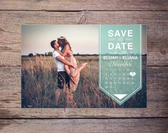 Modern Save the Date Postcard, Save-the-Date Card Photo, Postcard, Calendar Destination Wedding, DIY Printable, Digital File - Elijah+Eliana