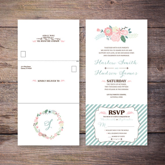 Floral Seal and Send Invite, Send N' Seal Wedding Invitation, Shabby Chic Flowers, All in one Invite, Economic Invite - Harlow