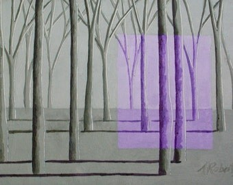 Lilac and Sage Surreal Landscape Painting, Fantasy Landscape, Enchanted Forest, Home Wall Decor, Surreal Forest