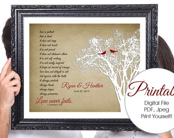 LOVE Never Fails, Corinthians, Birds, Personalized Couples Wedding Gift, 50th Anniversary Wedding Gift, 1st Anniversary, Gift for Wife, Tree