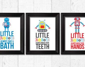 Little robots always take a bath, Kids bathroom Decor, robots decor, Kids Wall Art, Baby Decor, bathroom rules art, robots prints, A-3009