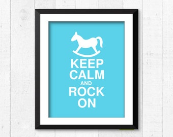Keep calm and rock on, modern nusery baby boy girl print, typography print, nursery wall decor, funny quote home decor, baby decor, A-1045