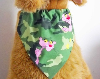 Pet Bandana Camo and Pink Panther Large Camoflage Bandana