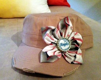 Kansas City Royals cadet hat with baseball-print fabric flower and bottle cap center embellishment