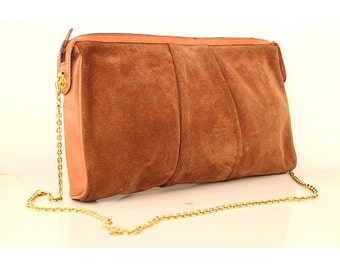 1970 gold chain CLUTCH  brown suede leather