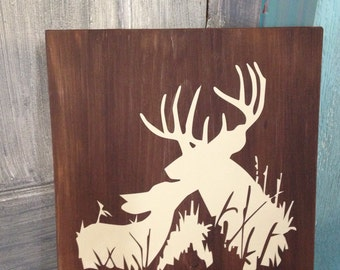 12x12 wooden sign with deer