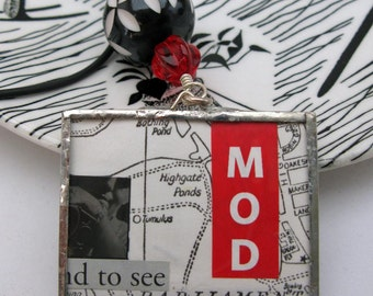 Mod Pendant - red black and white - soldered glass collage pendant - silliness