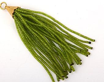 CLEARANCE %20 OFF - Transparent Lime Green, Short Afghan/Tibetan Heishi Seed Bead Tassel, Boho Tassel, 1 pc- 102 mm/4''-  // TAS-021