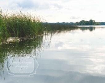 Minnesota Lake.  White Bear Lake. Midwest Nature. Lake Scene. Tranquil. Water. Reeds. Green. Blue
