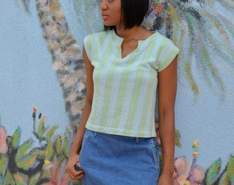 Blue and Green Shirt, Size Small, Pale Blue and Pale Green Pullover, Striped Women's Vintage Sleeveless Shirt, BOHO, Hipster, Hippie