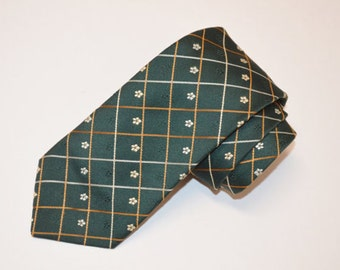 Green Necktie, Men's Vintage Tie, Colosseo DiRoma Necktie, Men's Dark Green Vintage Necktie, Vintage Neckwear, SALE!