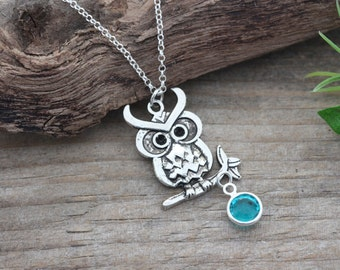 Owl Necklace, Owl Charm, Personalized with Birthstone necklace. Owl Jewelry, Graduation gift, lawyer gift, Doctor Gift