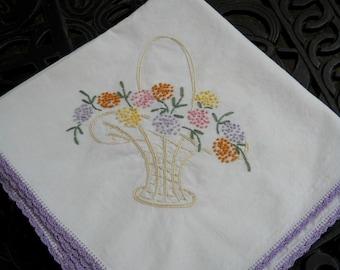 Vintage Tablecloth, Embroidered Basket of Flowers, Darling