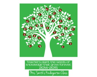 Teacher's Gift Personalized/Custom Class Apple Tree Digital Delivery