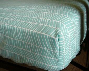 Aqua Herringbone Crib Sheet