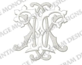 KT monogram or TK monogram - vintage monogram scanned from antique book and provided in digital format.