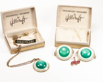Hillcraft Pendant and Earring Set Green