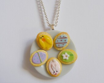 Food Jewelry Easter Cookies Necklace, Miniature Food Necklace, Miniature Food Pendant, Mini Food Jewelry, Easter Jewelry, Kawaii Necklace