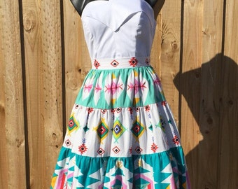 Vintage 50s Style Tiered South Western Skirt
