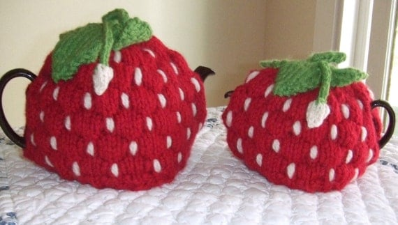 Knitting Pattern Spouted Strawberry Tea Cozy, knit ...