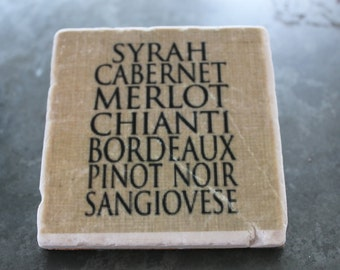 "Tumbled Marble Stone Coaster "" WInes"""
