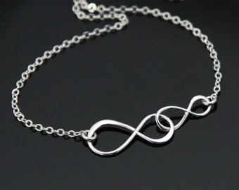 Double INFINITY Necklace, Sterling Silver Infinity Necklace, Mother and Daughter Necklace, Big Sis Little Sis, Anniversary Necklace..