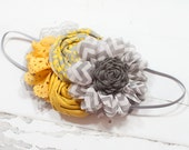 Sunshine on a Cloudy Day - headband in greys, white and yellow
