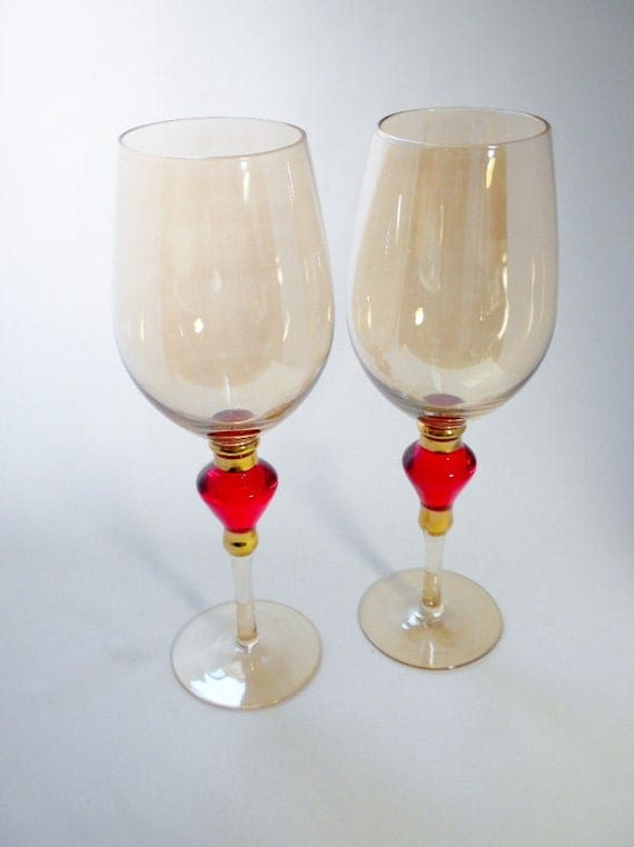 Two Very Large Wine Glasses Wine Goblets Amber Red By