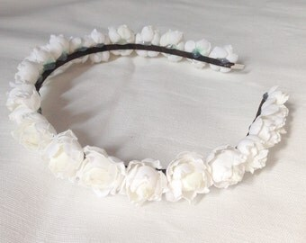 White rose floral flower hairpiece headband hairband crown hair accessory bridal wedding occassion wreath