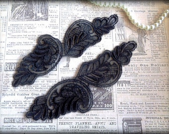 Embroidered Wing Flower Lace Applique, Black, x 2, For Bridal, Romantic, Victorian, Gothic Projects
