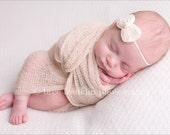 Ivory Chiffon Bow Baby Flower Headband, Newborn Headband, Baby Girl Flower Headband, Photography Prop
