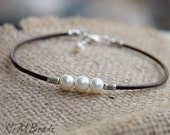 Pearl Leather Wrap Bracelet , Sterling Silver, June Birthstone, Gift For Her