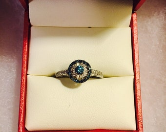 REDUCED PRICE Blue and White Diamond Engagement Ring