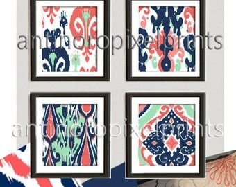 Navy  Coral Mint Green White Ikat Damask Pictures, Set of (4) Wall Art Prints, Custom Colors Sizes Available,(Unframed) #237092291