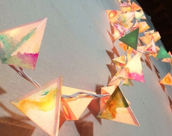 Paper Lantern Garland - THE SOFT PLANET - handmade fairy lights with swirls of pastel, neutrals, and clover