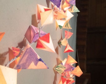 Paper Fairy Lights - THE MORNING ATTIC - handmade paper pyramid lanterns in lavender marbling, rust, & emerald for party and wedding decor
