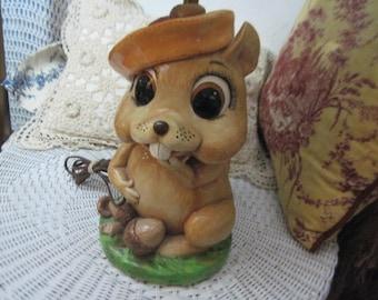 Animal Factory Squirrel 77, Vintage Lamp, Squirrel, Vintage Table Lamp, Animal Lamp, Child room decor, Country Decor, Cabin Decor, Wild Life